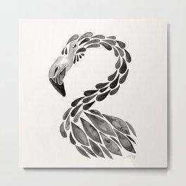 Miami Flamingo – Black Ink Metal Print