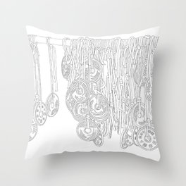 Happy Five Yen Coins - Line Art Throw Pillow