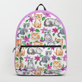 Kittens and Clematis - white Backpack