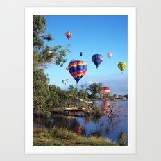 Hot air balloon scene Art Print