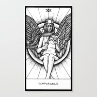 tarot Canvas Prints featuring Temperance Tarot by Corinne Elyse