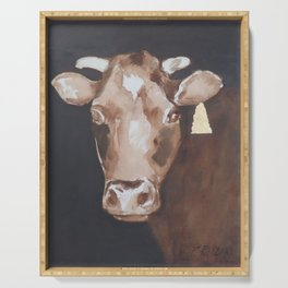Gold Earring - Cow portrait Serving Tray
