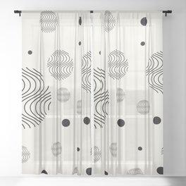 Minimalist pattern, Full moon hug Sheer Curtain