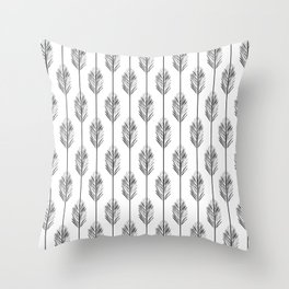 Black and White Redwood Leaf Throw Pillow