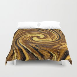 Gold Brown Abstract Sun Rotation Pattern Duvet Cover