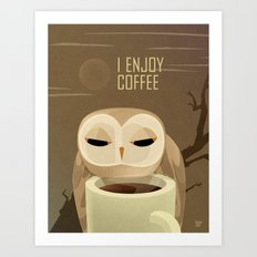 Owl Enjoys Coffee Art Print