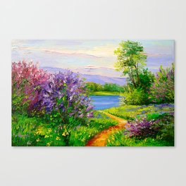 Lilac bloom on the river Canvas Print