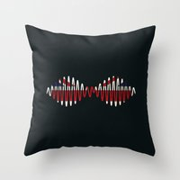 arctic monkeys Throw Pillows featuring Arctic Monkeys by lastminutebinge