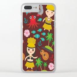 Hawaiian Hula Dancer Kawaii boy girl seamless pattern, set of Hawaii symbols with a guitar ukulele Clear iPhone Case