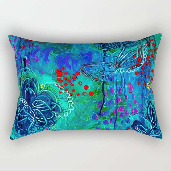 In Too Deep - Blue Abstract Flowers Rectangular Pillow