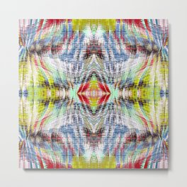geometric symmetry pattern abstract background in blue yellow red Metal Print