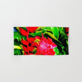 Flowers 113. Floral. Red. Green Leaves Hand & Bath Towel