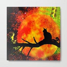 BLACK CAT HARVEST MOON 2018 Metal Print