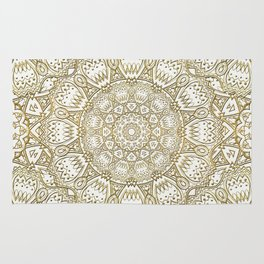 Golden Mandala in Cream Colored Background Rug