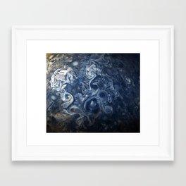 Swirling Blue Clouds of Planet Jupiter from Juno Cam Framed Art Print
