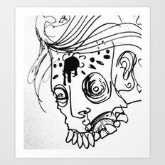 Gnarly Zombie Sketch Art Print