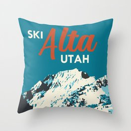 Ski Alta Utah Vintage Ski Poster Throw Pillow