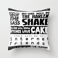 edm Throw Pillows featuring EDM death machine by Alex Terry