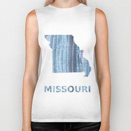 Missouri map outline Light steel blue nebulous watercolor Biker Tank