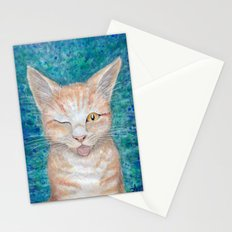;P ~ Seb the Groovy Cat ~ Watercolor & Acrylic Painting Stationery Cards