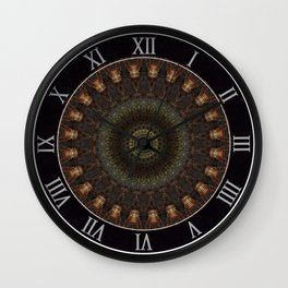 Ornamented mandala in green, red and brown tones Wall Clock