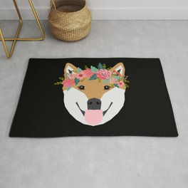 Shiba Inu floral crown dog with flowers pet art pure breed shiba inus Rug
