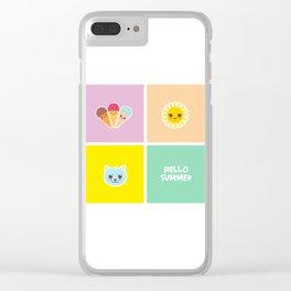 Hello Summer bright tropical card design, ice cream, sun, cat. Kawaii cute face. Clear iPhone Case