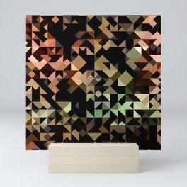 Geometric Brown and Green Mini Art Print