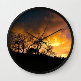Sunset Golden Clouds Silhouette Bare Trees Wall Clock