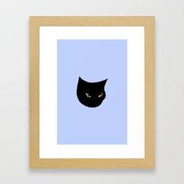 Cute Black Cat Blue Framed Art Print