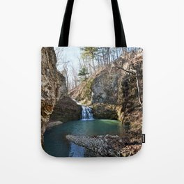 Alone in Secret Hollow with the Caves, Cascades, and Critters - Approaching the Falls, 2 of 2 Tote Bag