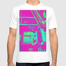 Industrial Abstract Purple White Mens Fitted Tee MEDIUM