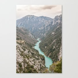Blue river through the French mountains Canvas Print