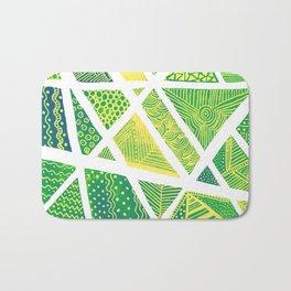 Geometric doodle pattern - green and yellow Bath Mat