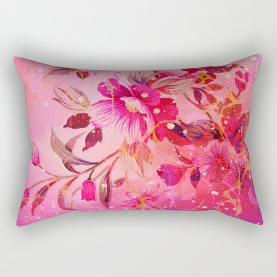 pink floral with white dots Rectangular Pillow