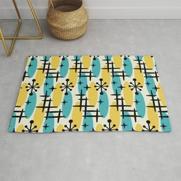 Retro Mid Century Modern Cosmic Surfer Pattern 231 Turquoise and Yellow Rug