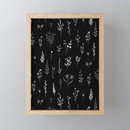 Black wildflowers Framed Mini Art Print