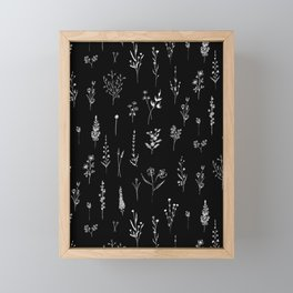 Black wildflowers Framed Mini Art Print