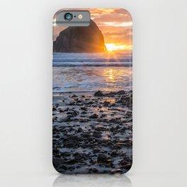 Haystack Rock, Cape Kiwanda, Pacific City at Sunset iPhone Case