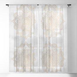 Marble Gold Mandala Design Sheer Curtain