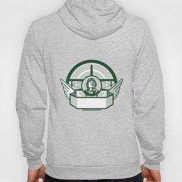 World War One Airman Biplane Circle Retro Hoody