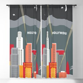 Los Angeles, California - Skyline Illustration by Loose Petals Blackout Curtain