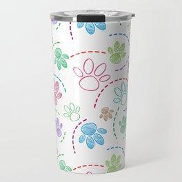 Dog pet foot draw seamless pattern Travel Mug