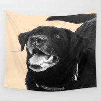 labrador Wall Tapestries featuring Labrador Happy by Jennifer Warmuth Art And Design