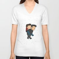 sterek V-neck T-shirts featuring Sterek Piggyback by agartaart