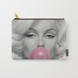 Contemporary Print - Big Pink Bubble Gum Bubble Being Blown by Mari-lyn Monroe (Black & White with Colour Picture Poster Art Artwork Modern) Carry-All Pouch