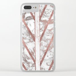 Modern faux rose gold white geometrical marble stripes Clear iPhone Case