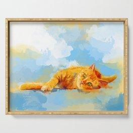 Cat Dream - orange tabby cat painting Serving Tray