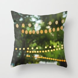 Golden Bokeh in The Trees Throw Pillow