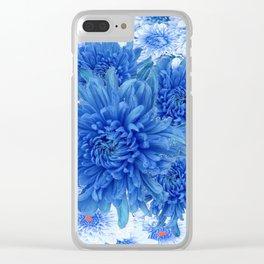 Oriental Style  Blue Chrysanthemums Garden Floral Pattern Clear iPhone Case